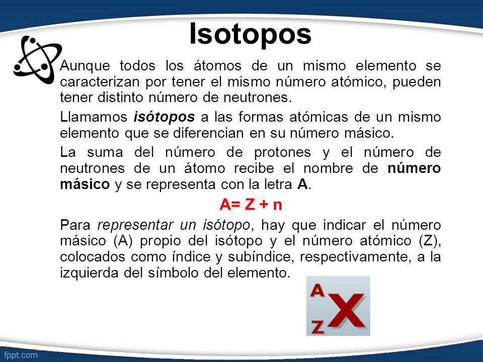 Isotopos Aunque todos los átomos de un mismo elemento se caracterizan por tener el mismo número atómico, pueden tener distinto número de neutrones. Ll