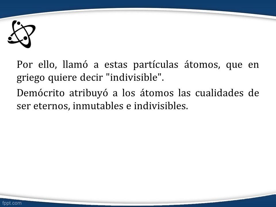 Por ello, llamó a estas partículas átomos, que en griego quiere decir