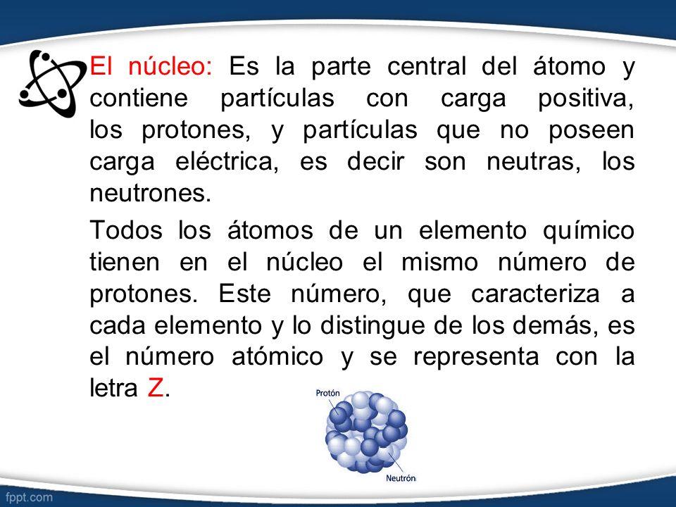 El núcleo: Es la parte central del átomo y contiene partículas con carga positiva, los protones, y partículas que no poseen carga eléctrica, es decir