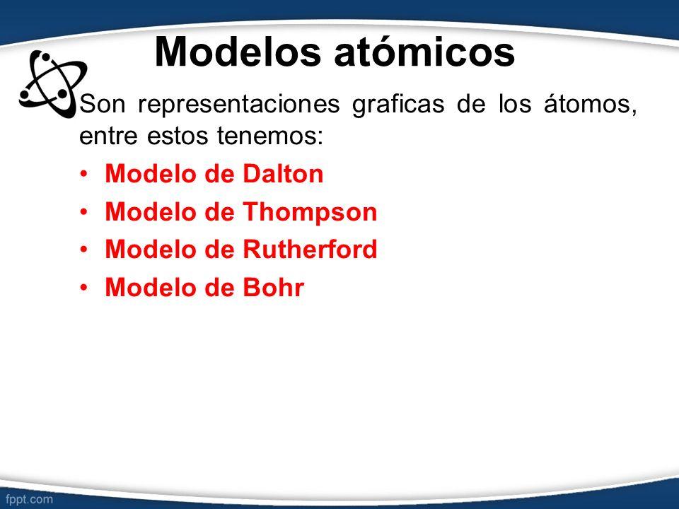 Modelos atómicos Son representaciones graficas de los átomos, entre estos tenemos: Modelo de Dalton Modelo de Thompson Modelo de Rutherford Modelo de