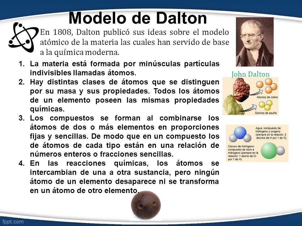 Modelo de Dalton En 1808, Dalton publicó sus ideas sobre el modelo atómico de la materia las cuales han servido de base a la química moderna. 1.La mat