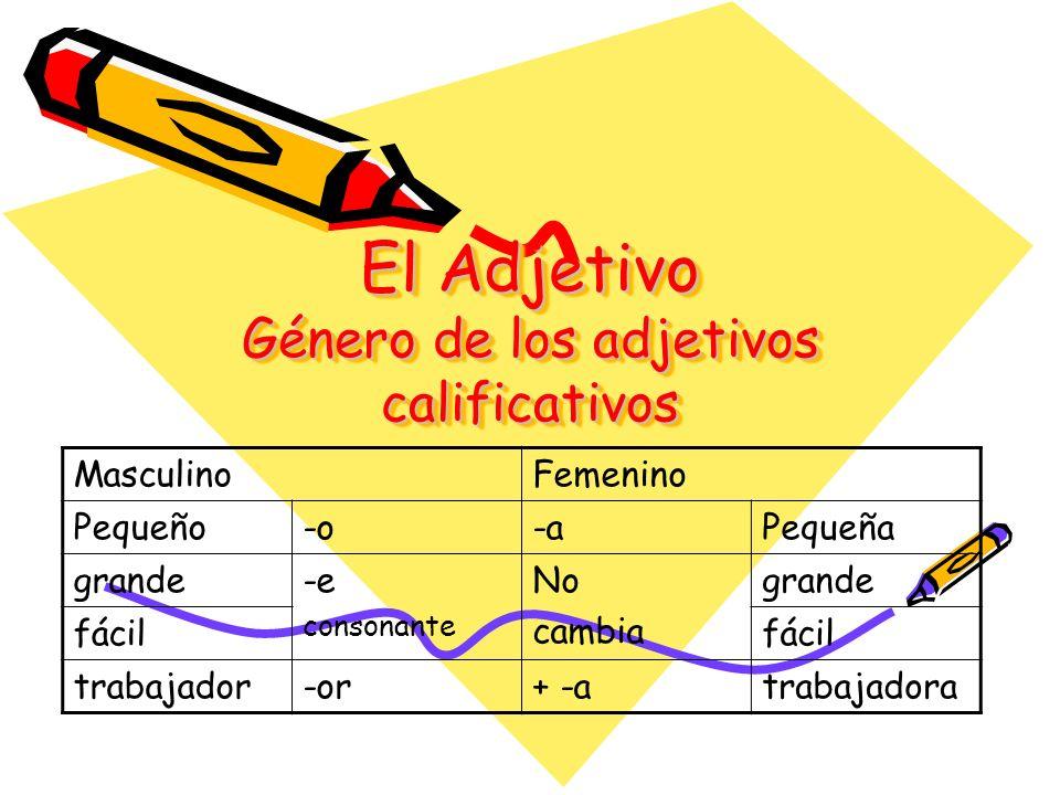 El Adjetivo Género de los adjetivos calificativos MasculinoFemenino Pequeño-o-aPequeña grande-e consonante No cambia grande fácil trabajador-or+ -atra