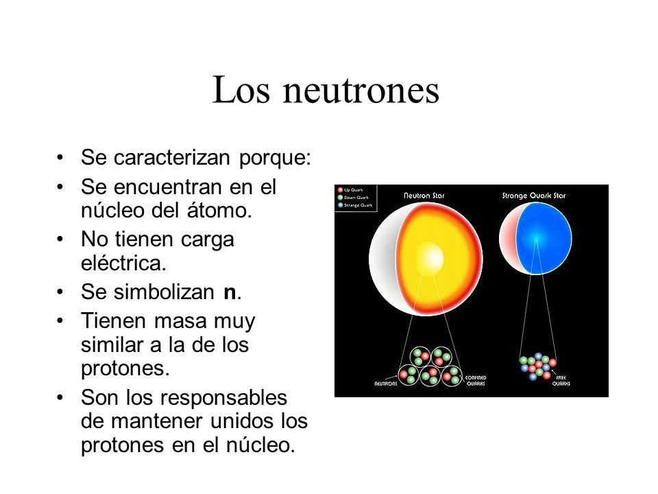 Los protones Se caracterizan porque: Están en el núcleo del átomo. Tienen carga eléctrica positiva. Se simbolizan P+. Tienen una masa significativa.