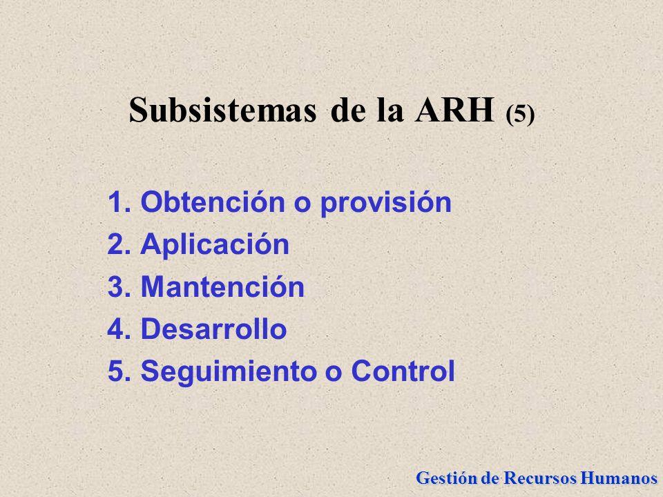 Gestión de Recursos Humanos Subsistemas de la ARH (5) 1.Obtención o provisión 2.Aplicación 3.Mantención 4.Desarrollo 5.Seguimiento o Control