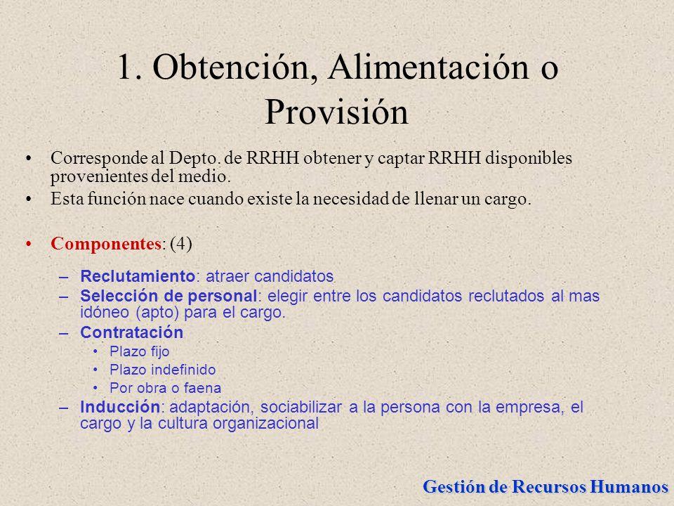 Gestión de Recursos Humanos 1. Obtención, Alimentación o Provisión Corresponde al Depto. de RRHH obtener y captar RRHH disponibles provenientes del me