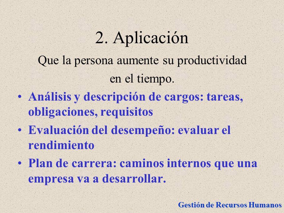 Gestión de Recursos Humanos 2. Aplicación Que la persona aumente su productividad en el tiempo. Análisis y descripción de cargos: tareas, obligaciones