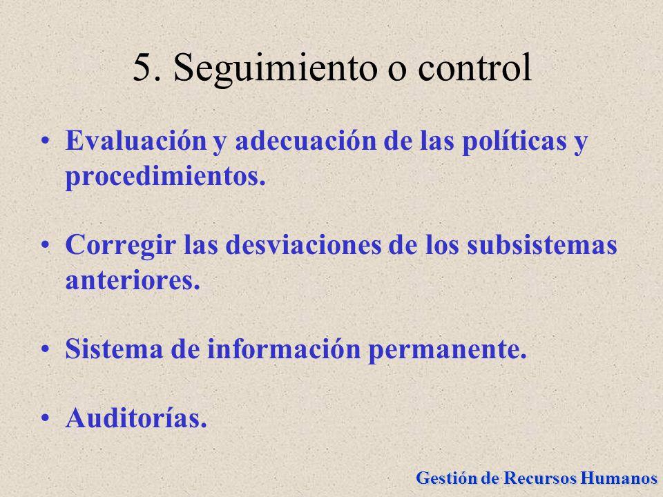 Gestión de Recursos Humanos 5. Seguimiento o control Evaluación y adecuación de las políticas y procedimientos. Corregir las desviaciones de los subsi