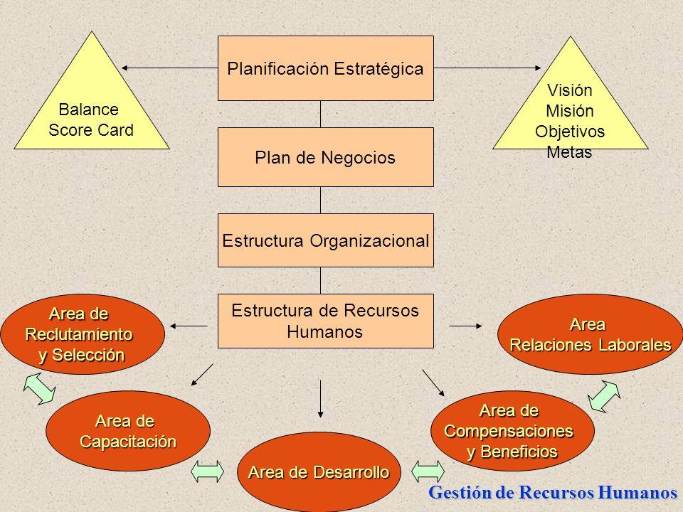 Gestión de Recursos Humanos Area de Reclutamiento y Selección Planificación Estratégica Plan de Negocios Estructura Organizacional Estructura de Recur
