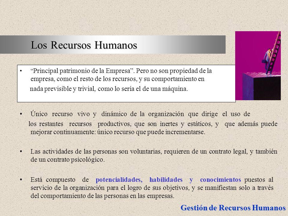 Gestión de Recursos Humanos Principal patrimonio de la Empresa. Pero no son propiedad de la empresa, como el resto de los recursos, y su comportamient