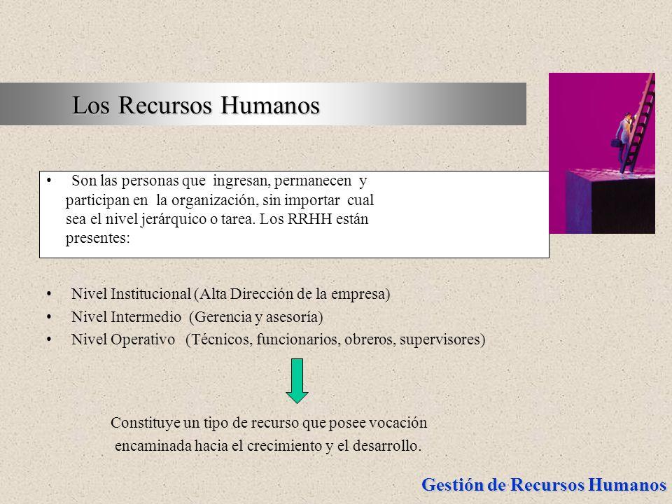 Gestión de Recursos Humanos Son las personas que ingresan, permanecen y participan en la organización, sin importar cual sea el nivel jerárquico o tar