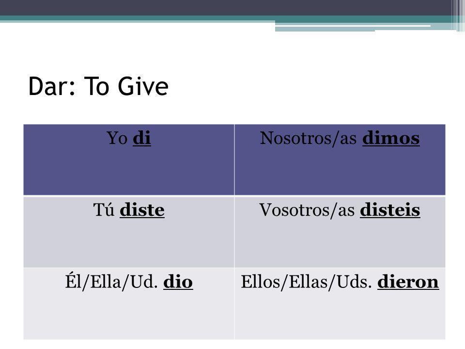 Ver: To See Yo viNosotros/as vimos Tú visteVosotros/as visteis Él/Ella/Ud.