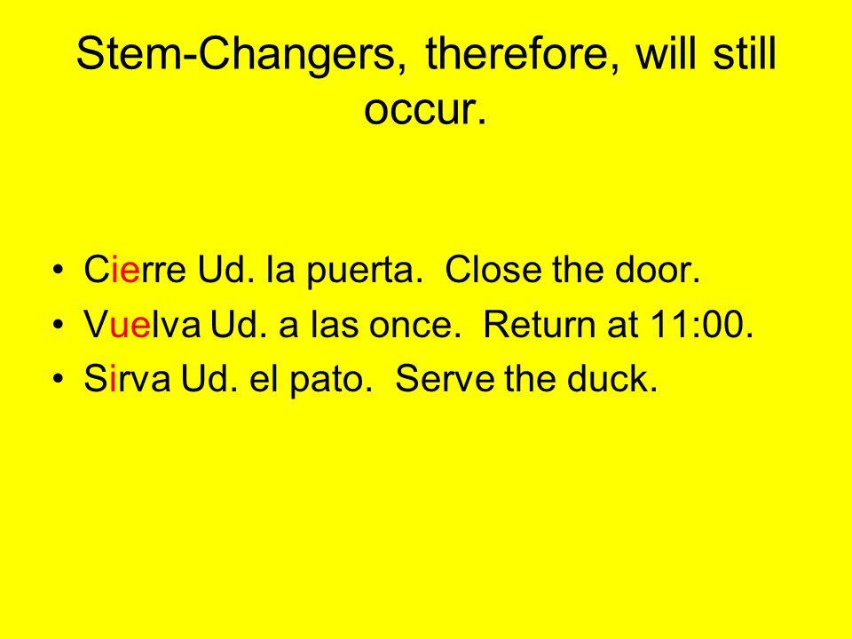 Ejemplos: -ar,-er,-ir (Mirar - Miro) Mire Ud. = Look. (Aprender - Aprendo) Aprenda Ud. espanol. = Learn Spanish. (Escribir - Escribo) Escriba Ud. en i
