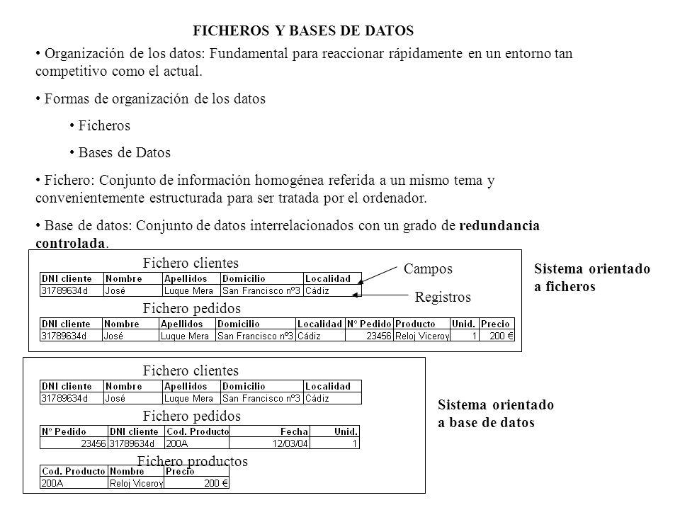 FICHEROS vs BASES DE DATOS SISTEMA ORIENTADO A FICHEROSSISTEMA ORIENTADO A BASES DE DATOS Redundancia de datos Redundancia mínima, sólo para establecer las relaciones Dependencia de programas o aplicaciones Independencia de programas o aplicaciones Sistema rígido Sistema más flexible Mayores posibilidades de inconsistencias, en datos que se repiten Control de inconsistencias Programa A Programa B Programa C Fichero A Fichero B Fichero C Fichero A Fichero BFichero C Programa A Programa BPrograma C Base de datos: Conjunto de ficheros Información integrada y no redundante Organizada para permitir múltiples usos