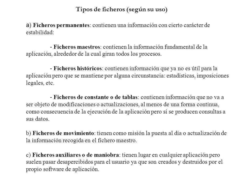Tipos de ficheros (según su uso) a) Ficheros permanentes: contienen una información con cierto carácter de estabilidad: - Ficheros maestros: contienen
