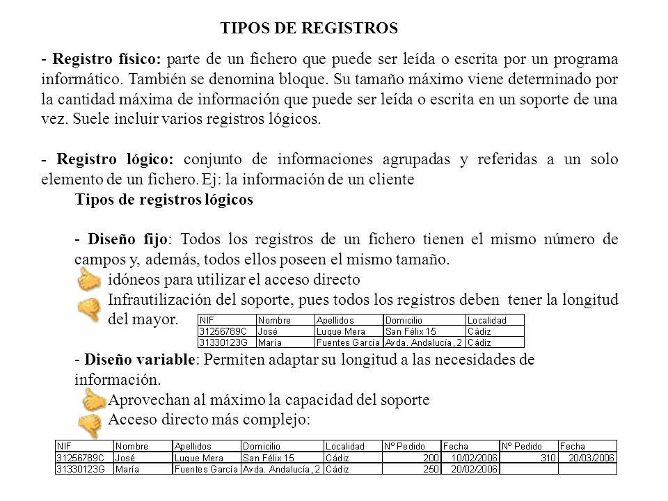 - Acceso secuencial, en el cual para localizar un registro situado en el lugar n es necesario leer los n-1 registros anteriores.