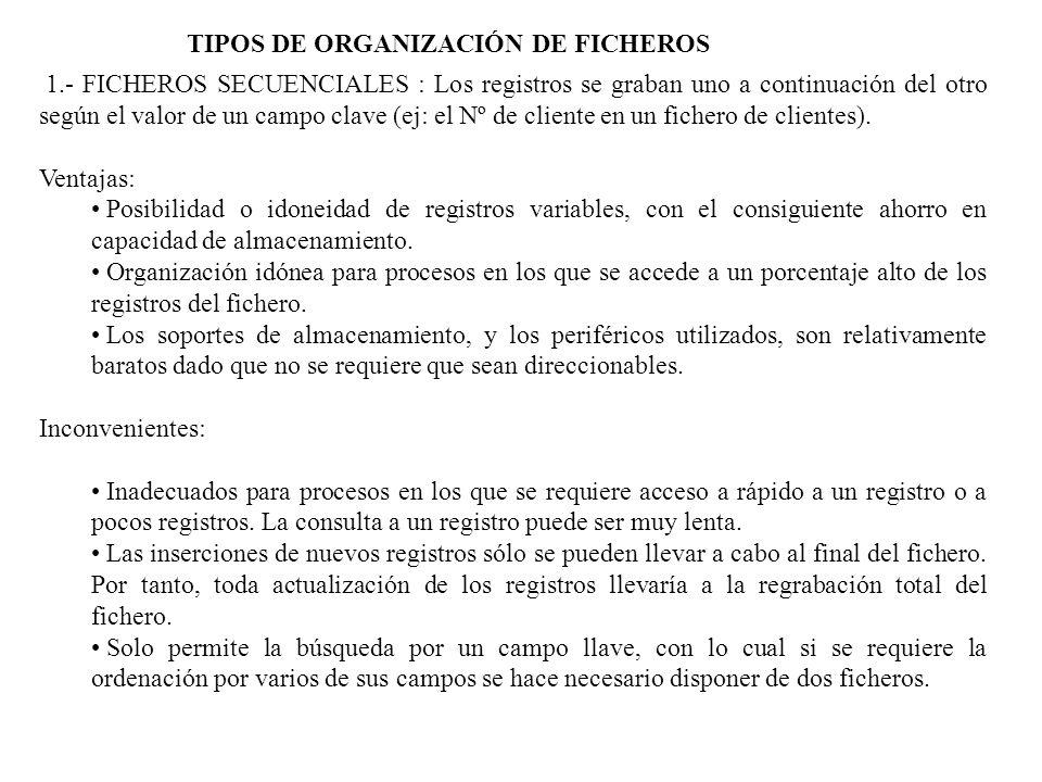 2.- FICHEROS DE ACCESO DIRECTO O RELATIVOS Un fichero posee organización directa cuando los datos que se escriben y se leen no tienen porque estar consecutivos unos con otros.