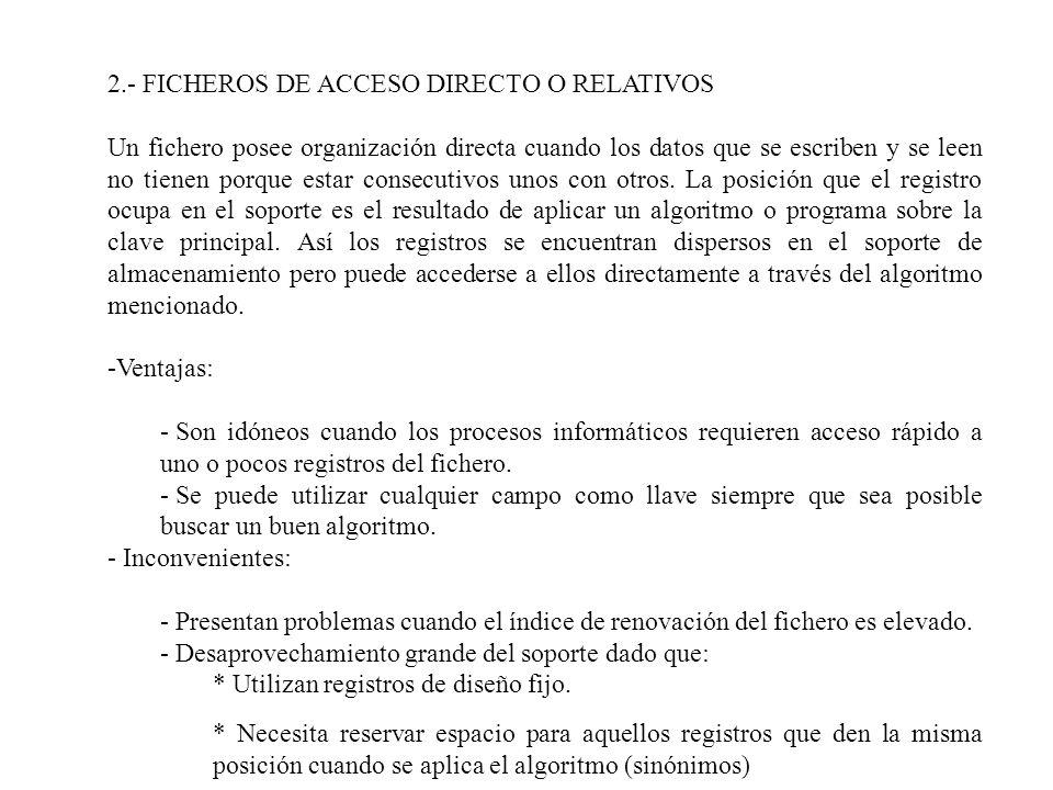 2.- FICHEROS DE ACCESO DIRECTO O RELATIVOS Un fichero posee organización directa cuando los datos que se escriben y se leen no tienen porque estar con