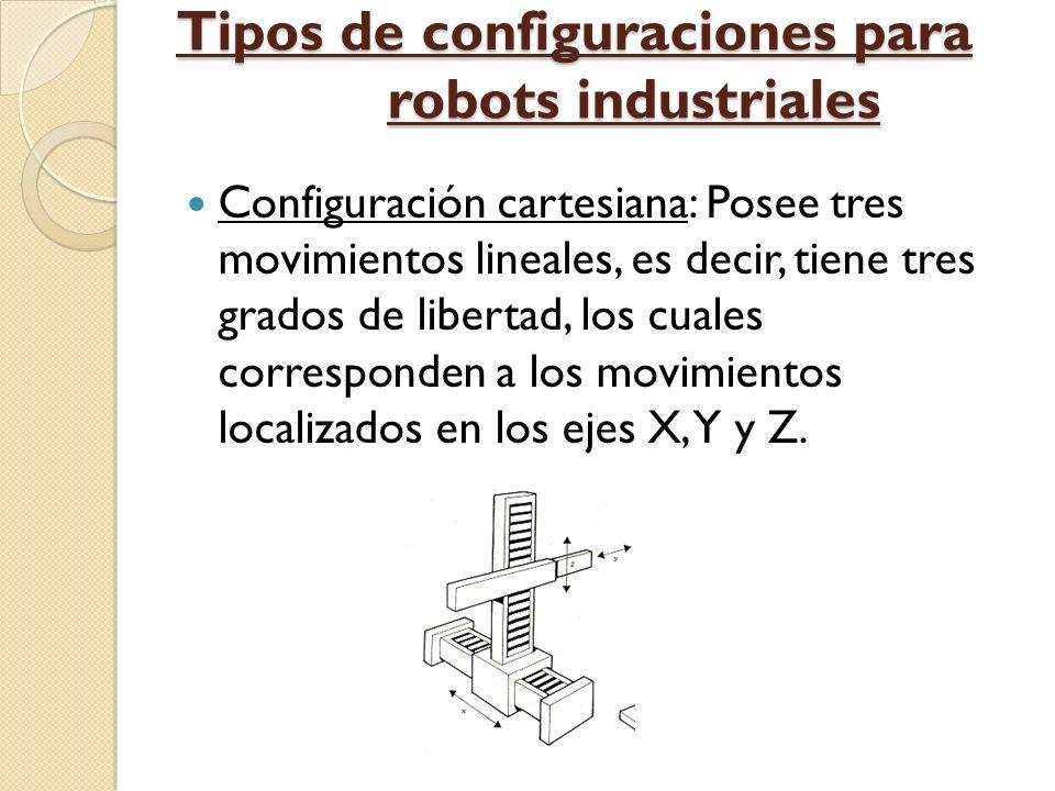 Tipos de configuraciones para robots industriales Configuración cartesiana: Posee tres movimientos lineales, es decir, tiene tres grados de libertad,