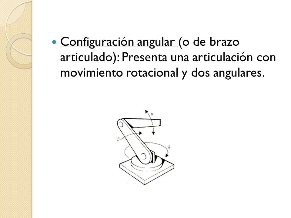 Configuración angular (o de brazo articulado): Presenta una articulación con movimiento rotacional y dos angulares.