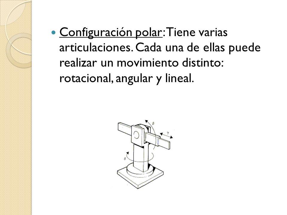 Configuración polar: Tiene varias articulaciones. Cada una de ellas puede realizar un movimiento distinto: rotacional, angular y lineal.