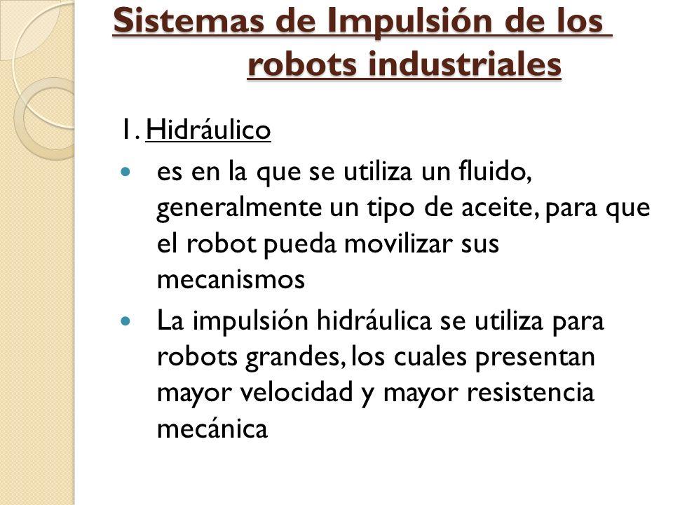 Sistemas de Impulsión de los robots industriales 1. Hidráulico es en la que se utiliza un fluido, generalmente un tipo de aceite, para que el robot pu