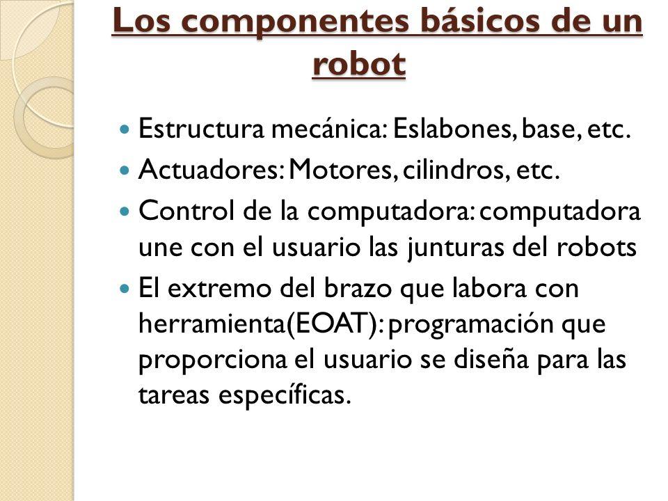 Los componentes básicos de un robot Estructura mecánica: Eslabones, base, etc. Actuadores: Motores, cilindros, etc. Control de la computadora: computa