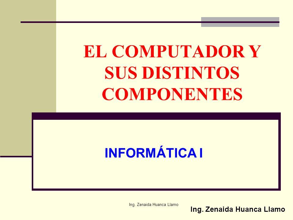 Ing.Zenaida Huanca Llamo EL COMPUTADOR Y SUS DISTINTOS COMPONENTES INFORMÁTICA I Ing.