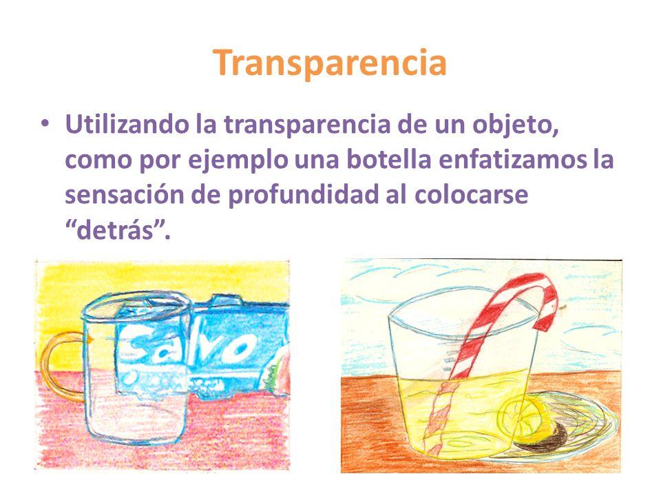 Transparencia Utilizando la transparencia de un objeto, como por ejemplo una botella enfatizamos la sensación de profundidad al colocarse detrás.