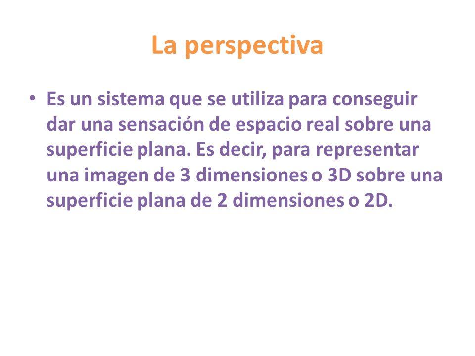 La perspectiva Es un sistema que se utiliza para conseguir dar una sensación de espacio real sobre una superficie plana. Es decir, para representar un