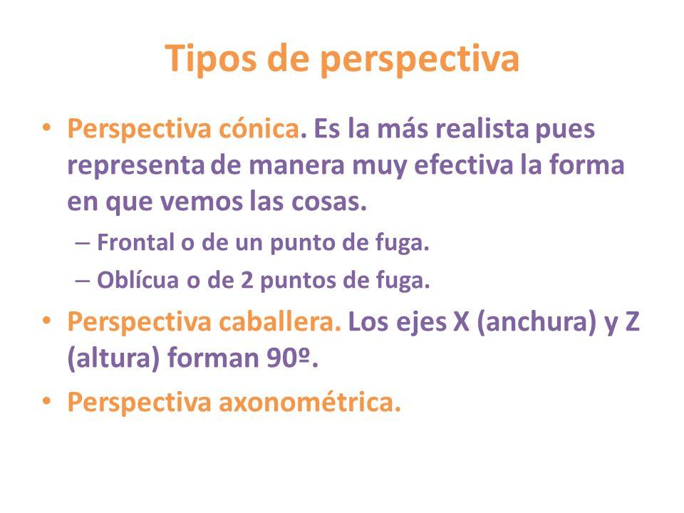 Tipos de perspectiva Perspectiva cónica. Es la más realista pues representa de manera muy efectiva la forma en que vemos las cosas. – Frontal o de un