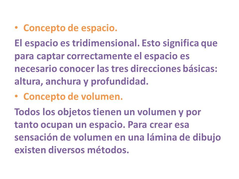 Concepto de espacio. El espacio es tridimensional. Esto significa que para captar correctamente el espacio es necesario conocer las tres direcciones b