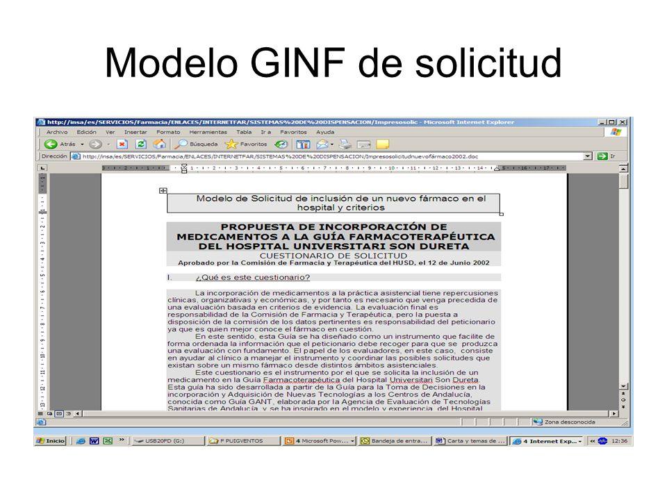 Modelo GINF de solicitud