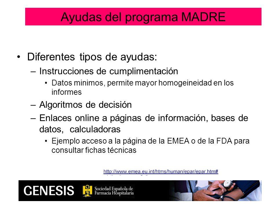 Diferentes tipos de ayudas: –Instrucciones de cumplimentación Datos minimos, permite mayor homogeineidad en los informes –Algoritmos de decisión –Enla