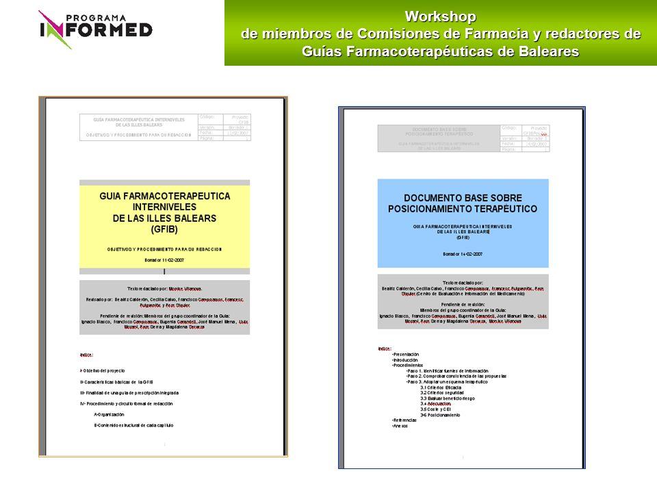 Workshop de miembros de Comisiones de Farmacia y redactores de Guías Farmacoterapéuticas de Baleares