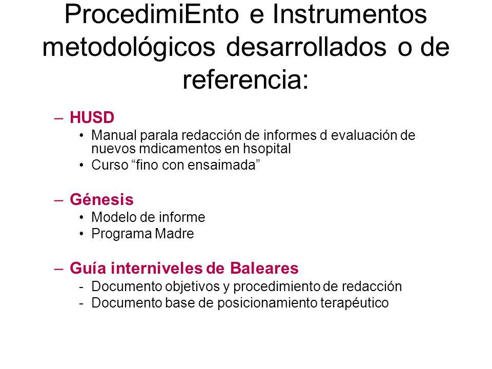 ProcedimiEnto e Instrumentos metodológicos desarrollados o de referencia: –HUSD Manual parala redacción de informes d evaluación de nuevos mdicamentos