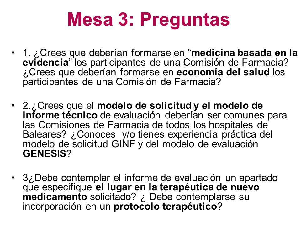 Mesa 3: Preguntas 1. ¿Crees que deberían formarse en medicina basada en la evidencia los participantes de una Comisión de Farmacia? ¿Crees que debería