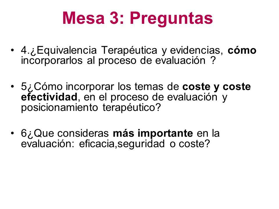Mesa 3: Preguntas 4.¿Equivalencia Terapéutica y evidencias, cómo incorporarlos al proceso de evaluación ? 5¿Cómo incorporar los temas de coste y coste