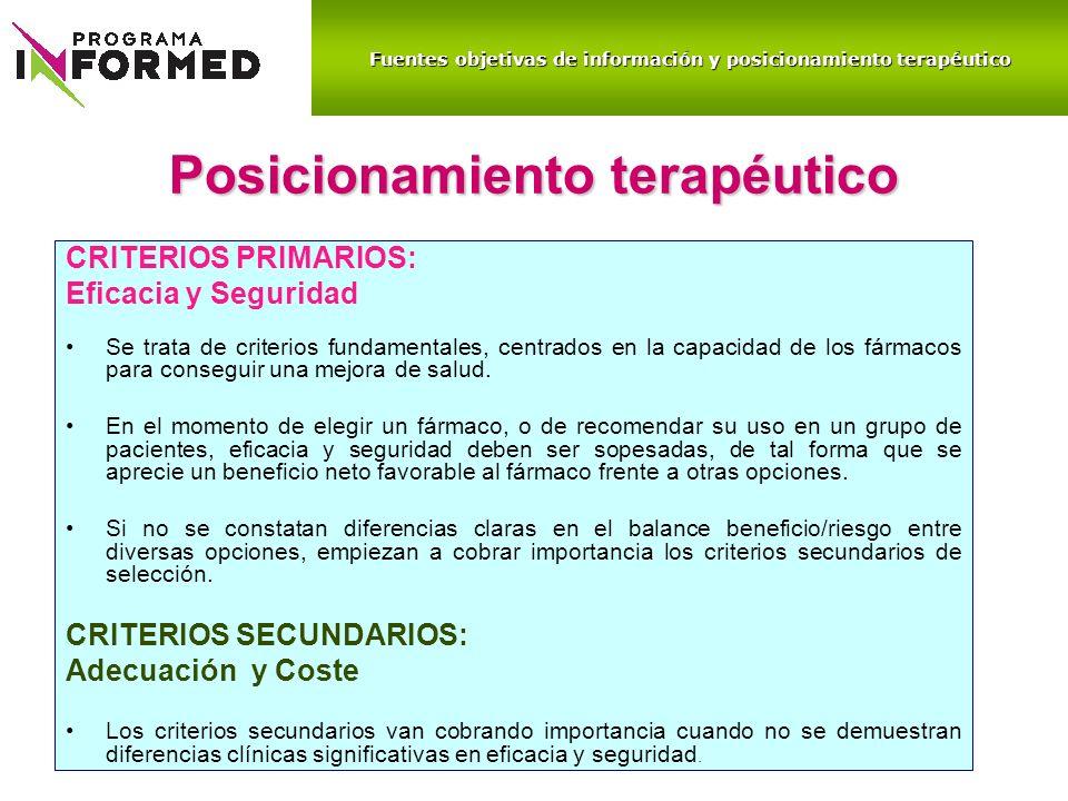 Posicionamiento terapéutico CRITERIOS PRIMARIOS: Eficacia y Seguridad Se trata de criterios fundamentales, centrados en la capacidad de los fármacos p