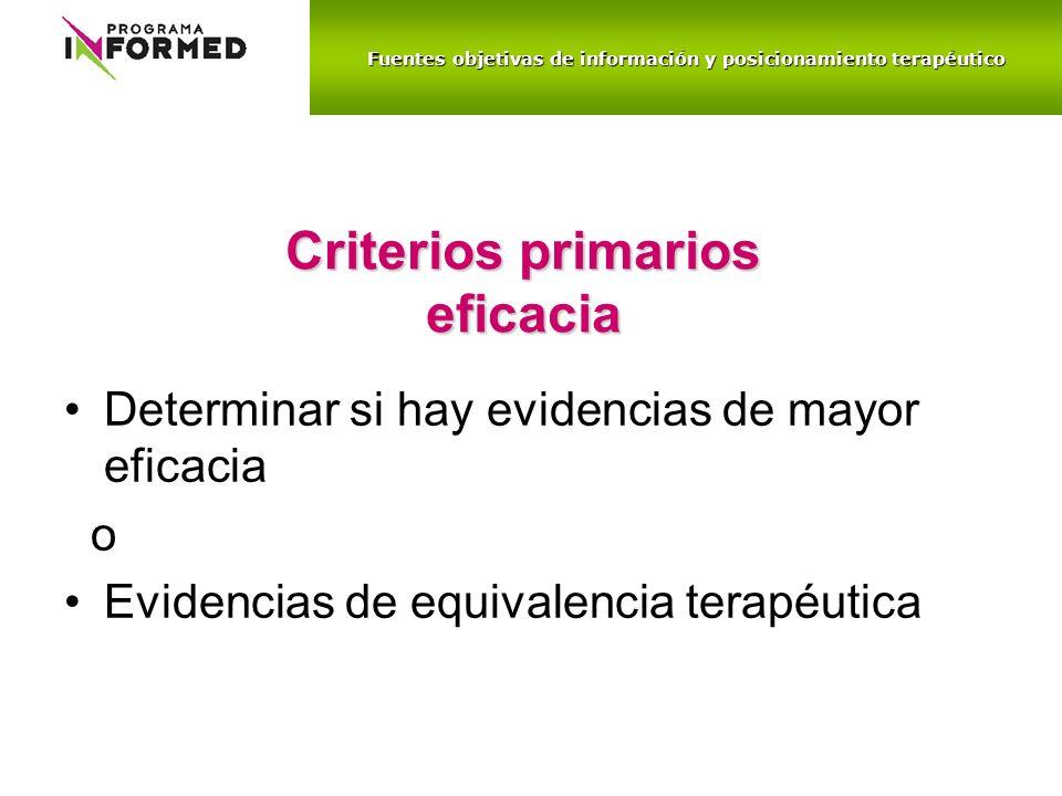 Criterios primarios eficacia Determinar si hay evidencias de mayor eficacia o Evidencias de equivalencia terapéutica Fuentes objetivas de información