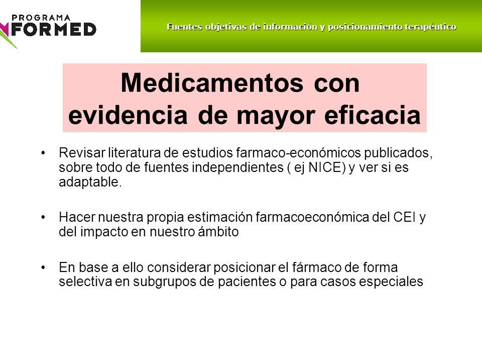 Revisar literatura de estudios farmaco-económicos publicados, sobre todo de fuentes independientes ( ej NICE) y ver si es adaptable. Hacer nuestra pro