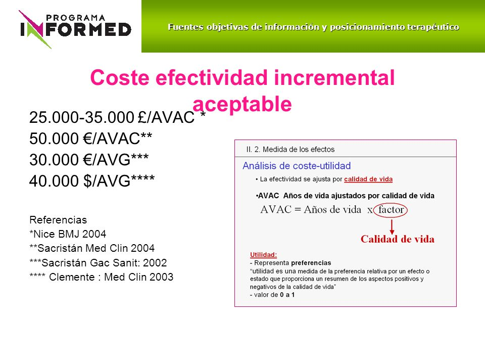 Coste efectividad incremental aceptable 25.000-35.000 £/AVAC * 50.000 /AVAC** 30.000 /AVG*** 40.000 $/AVG**** Referencias *Nice BMJ 2004 **Sacristán M