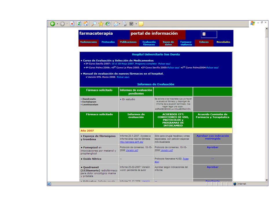 Evaluación de nuevos fármacos: La experiencia en HUSD Procedimiento Metodología Informes se publican DocenciaWorkshop de miembros de Comisiones de Farmacia y redactores de Guías Farmacoterapéuticas de Baleares