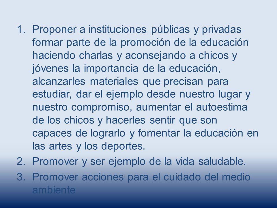 1.Proponer a instituciones públicas y privadas formar parte de la promoción de la educación haciendo charlas y aconsejando a chicos y jóvenes la impor
