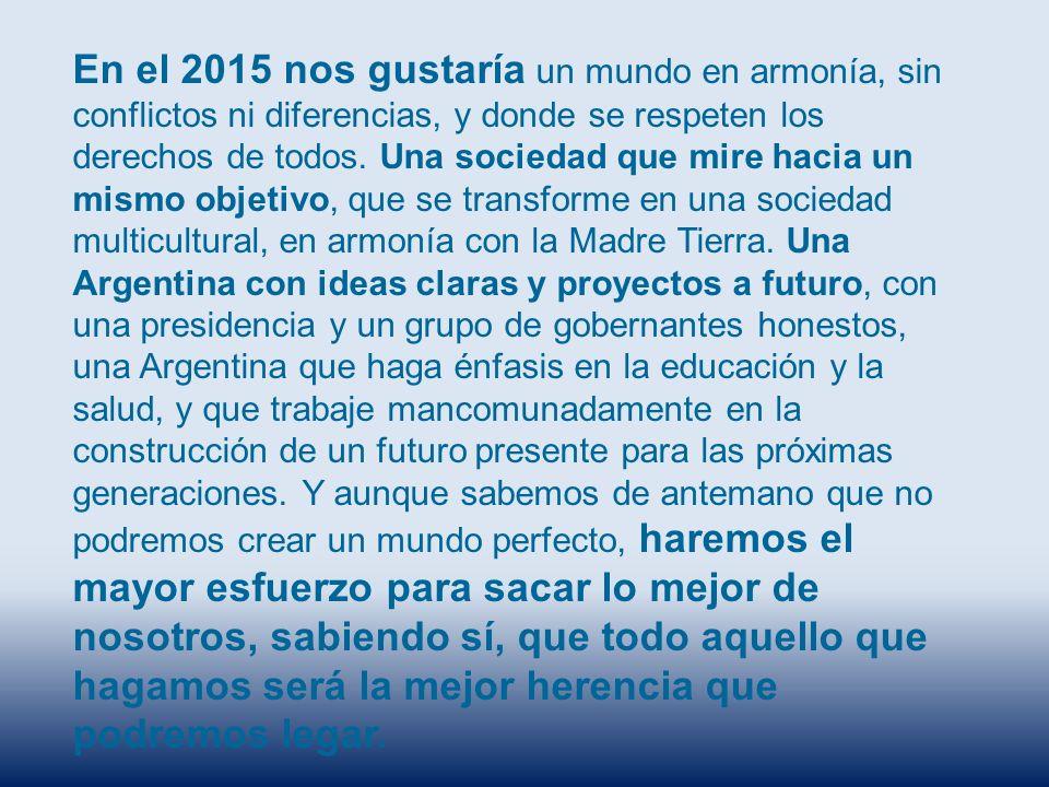 En el 2015 nos gustaría un mundo en armonía, sin conflictos ni diferencias, y donde se respeten los derechos de todos. Una sociedad que mire hacia un