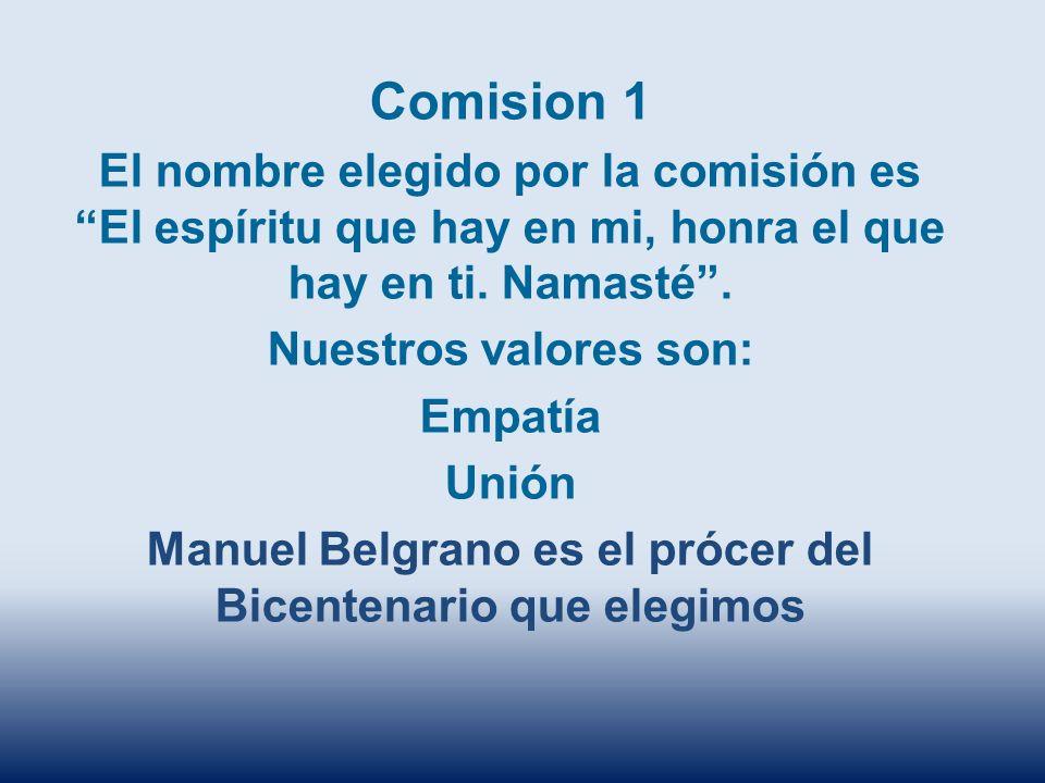 Comision 1 El nombre elegido por la comisión es El espíritu que hay en mi, honra el que hay en ti. Namasté. Nuestros valores son: Empatía Unión Manuel
