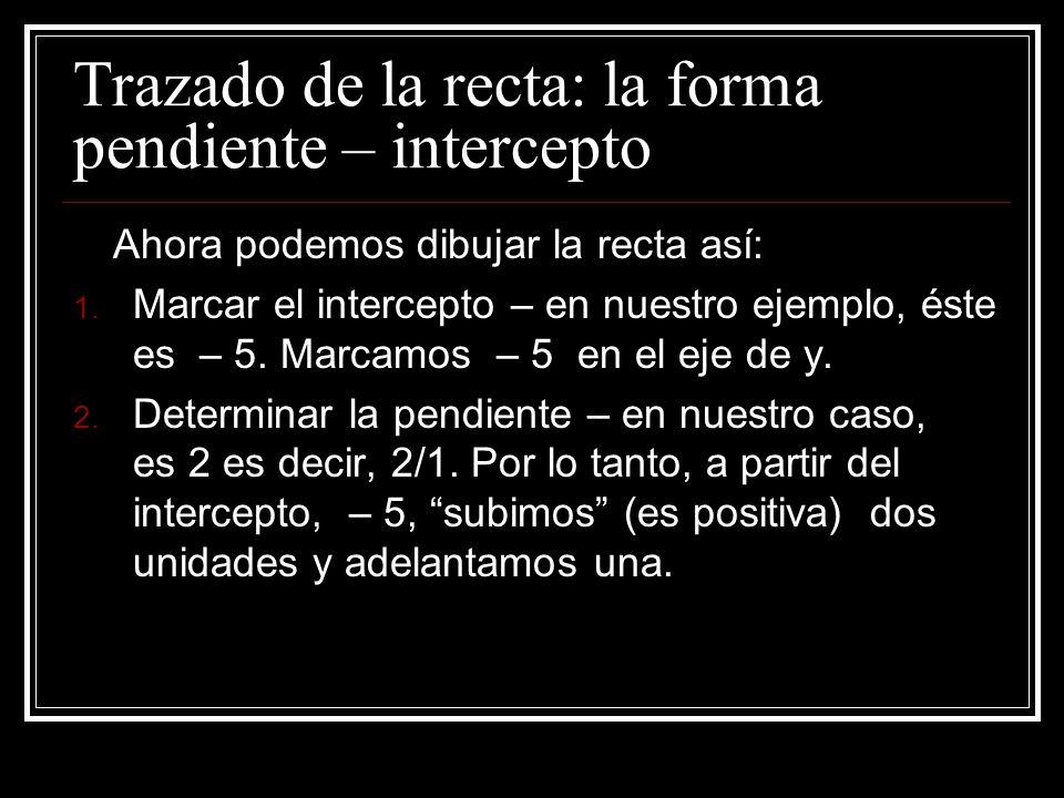 Trazado de la recta: la forma pendiente – intercepto El intercepto es el punto en el eje de y donde la recta lo interseca (cruza). En forma correcta s