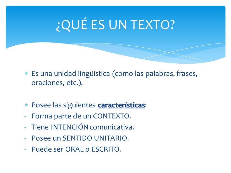 Es una unidad lingüística (como las palabras, frases, oraciones, etc.). características Posee las siguientes características: -Forma parte de un CONTE