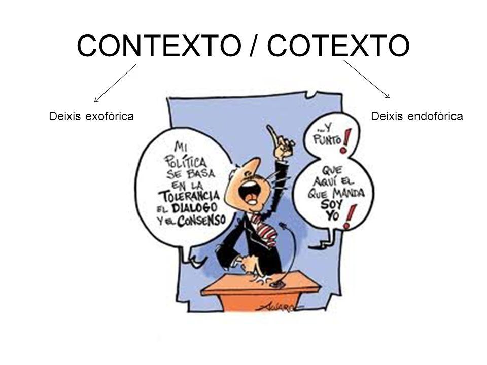 CONTEXTO / COTEXTO Deixis exofóricaDeixis endofórica