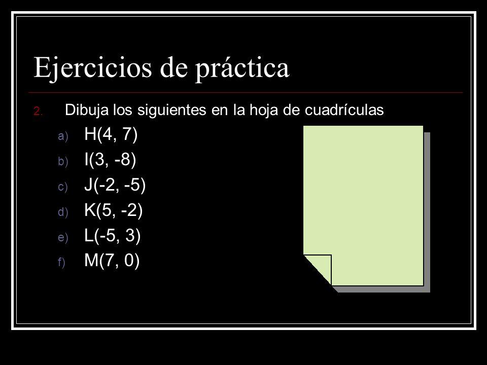 Respuestas del problema 1 A. (0, 0) ; el origen B. (3, 3) C. (6, 8) D. (-4, 7) E. (-6, 2) F. (-8, - 5)