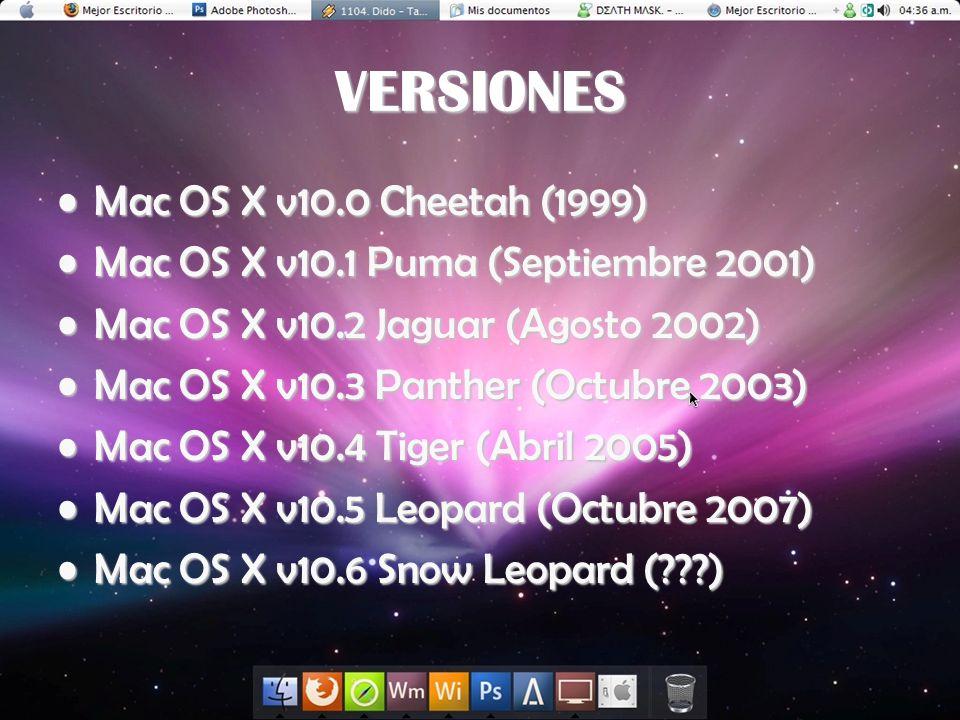 VERSIONES Mac OS X v10.0 Cheetah (1999)Mac OS X v10.0 Cheetah (1999) Mac OS X v10.1 Puma (Septiembre 2001)Mac OS X v10.1 Puma (Septiembre 2001) Mac OS